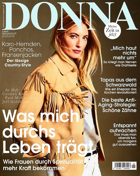 DONNA Januar 2019 - Cover - by Visagist Luis Huber in München