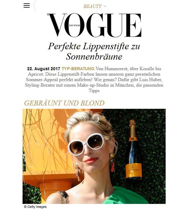 """August 2017 - """"Perfekte Lippenstifte zu Sonnenbräune"""" auf vogue.de"""