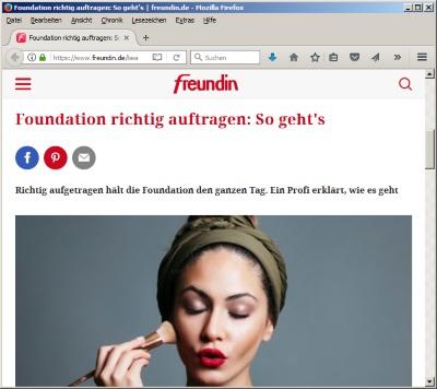 FOUNDATION RICHTIG AUFTRAGEN: SO GEHTS - Auf freundin.de im Juli 2018 - by Visagist Luis Huber in München