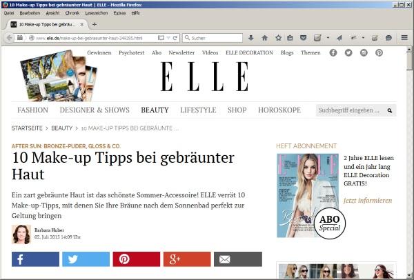 Juli 2015 - 10 Make-up Tipps bei gebräunter Haut auf elle.de